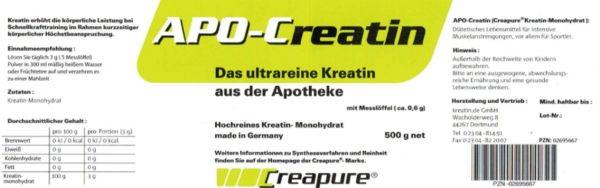 APO-Creatin – Das ultrareine Kreatin aus der Apotheke